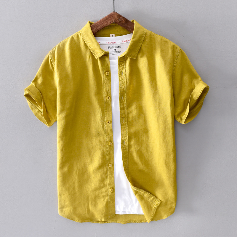 Cotton Linen Short Sleeve Shirts Men Casual Fashion Yellow Turn Down Collar Man Summer Tops Y2439