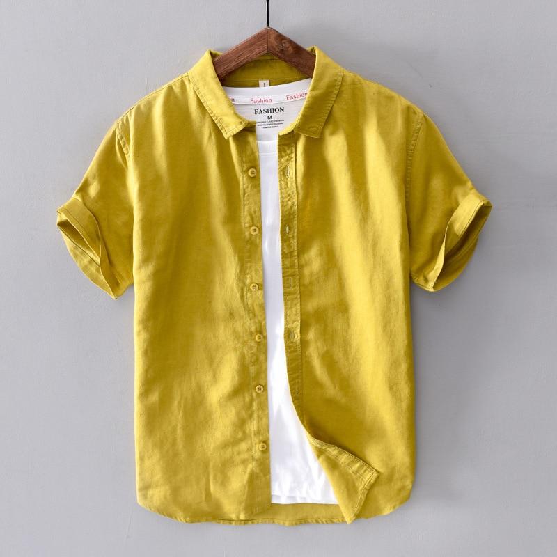 Cotton Linen Short Sleeve Shirts Men Casual Fashion Yellow Turn Down Collar Man Summer Tops Y2439