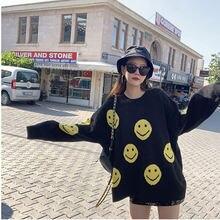 Женский вязаный свитер с круглым вырезом smile face черный свободный