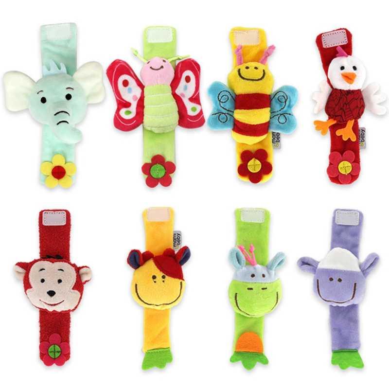 Baby Toys Animal Wrist Rattle EducationalToys For Children 0-12 Months Newborn Bed Stroller Crib  Plush Elephant Sheep Cow 1pcs