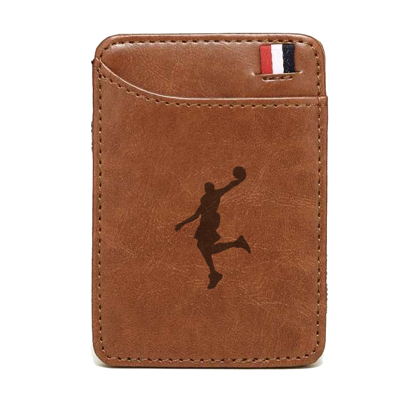 Vintage Brown Basketball Sports Leather Magic Wallets Classic Men Boy Money Clips Card Mini Purse Cash Holder Gifts
