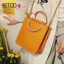 AETOO Retro vertical crossbody bag, female handmade cowhide handbag, temperament leather portable small square bag