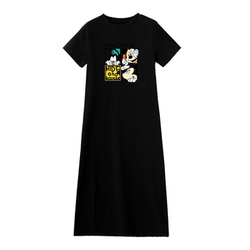Summer Cartoon women dress short sleeve printed O-Neck Medium long black Plus Size dresses Female Casual clothes 2019 vestidos 6