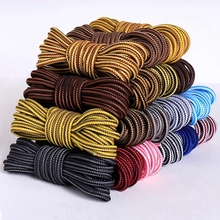 1 Pair Round Shoelaces Striped Double Color Shoe laces Unisex High Quality Leather Boot Shoelace Outdoor Leisure lace