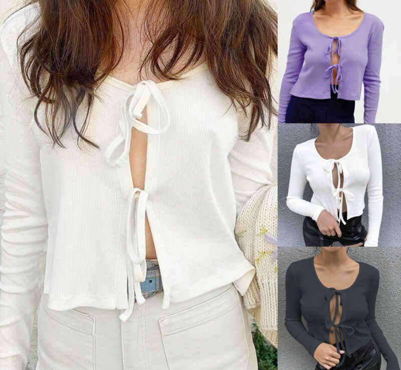 여자 매듭 넥타이 프론트 볼레로 어깨 걸이 긴 소매 자르기 탑 니트 스웨터 카디건 블랙 2020 가을 mujer 따뜻한 소프트 스웨터 탑스