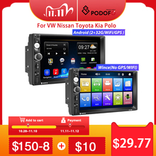 "Podofo 2 Din Car radio 멀티미디어 비디오 플레이어 2 din 7 ""Wince/Android with GPS Wifi Autoradio for Universal VW Toyota Hyundai"