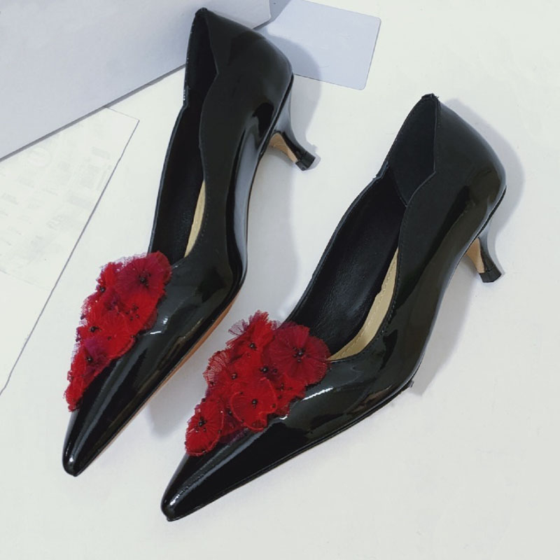 Genuine Leather Spring Summer Women Shoes Comfort Pointed Toe Pumps Mid Heels Slip On Female Wedge Shoes Casual Ladies Shoes
