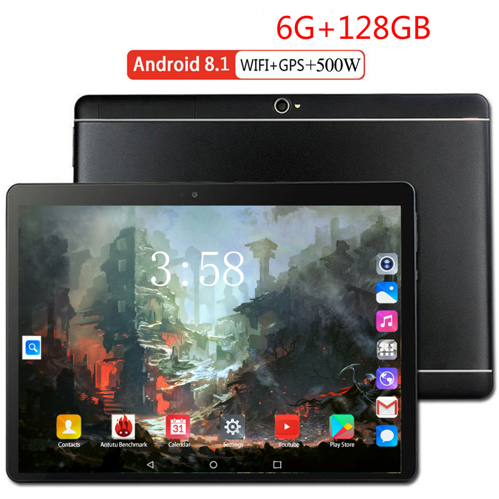 HOT NEW Cheap 10 Inch Tablet PC Android 8.0 Deca Core 6GB RAM 128GB ROM 8 MP Bluetooth Wifi 4G LTE FDD IPS 1920*1200 Tablet 10.1