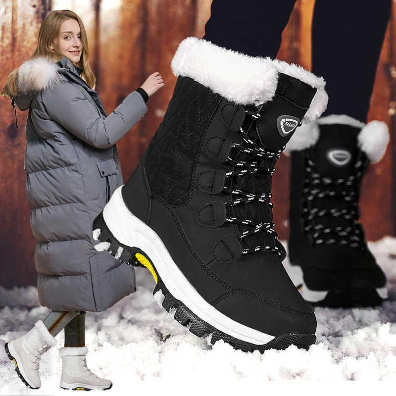 2019 moda bayan botları yüksek kaliteli orta buzağı kış kayak kar botları kadın dantel-up rahat açık olmayan kaymaz yağmur çizmeleri