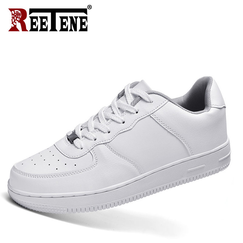 REETENE Men's Sneakers Lace Up Breathable Casual Men Shoes White Men's Shoes Black Shoes Men Fashion Brand Men Sneakers