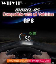 "WiiYii New Q5 Universal  Car HUD GPS Head Up Display Monitor 4""Speedometers Overspeed Warning New Windshield Projector"