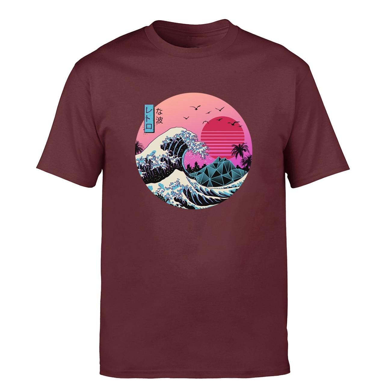 T Hemd Männer Die Große Retro Welle Japan Anime Vaporwave T-shirt Shirts 2019 Sommer Tops Klassische Kurzarm T Harajuku camiseta