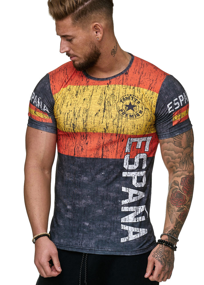 Summer Latest 3D Print Men's Spanish Casual Short Sleeve Slim T-Shirt Summer Tops Round Neck T-Shirt Soccer Spain Flag Fashion