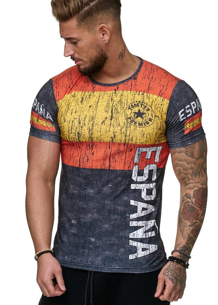 Summer Latest 3D Print Men's Spanish Casual Short Sleeve Slim T-Shirt Summer Tops Round Neck T-Shirt Soccer Spain Flag Fashion