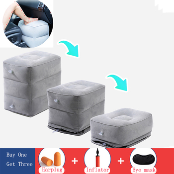 Portabl Inflatable Travel Foot Rest Pillow Feet Cushion Adjustable Height Footrest Relax For Airplane Office Home Accessories foot rest portable travel footrest flight carry on foot rest office bus airplane feet rest feet hammock travel accessories