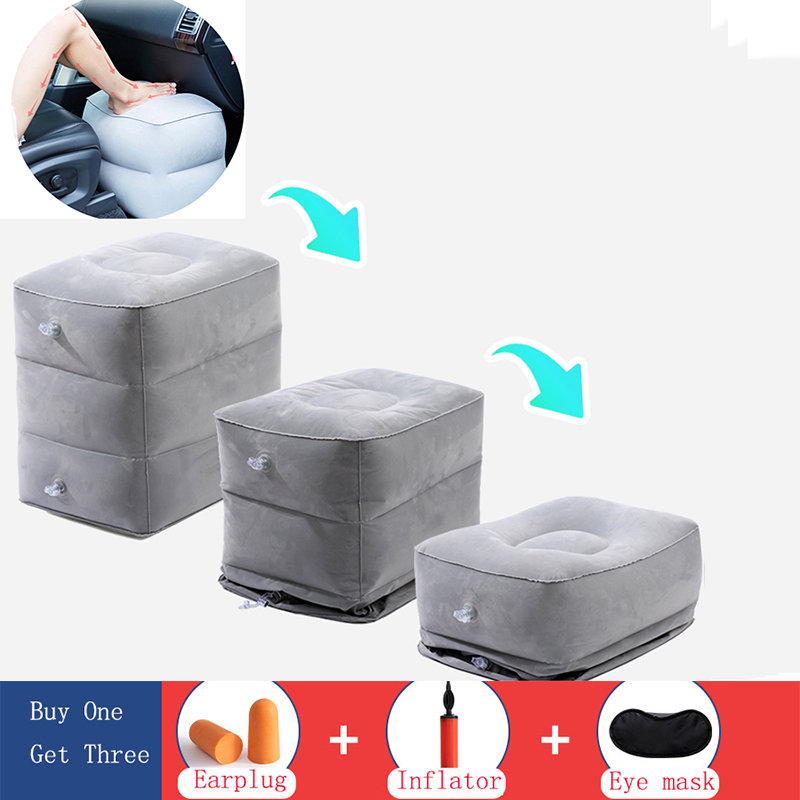 Portabl Inflatable Travel Foot Rest Pillow Feet Cushion Adjustable Height Footrest Relax For Airplane Office Home Accessories image