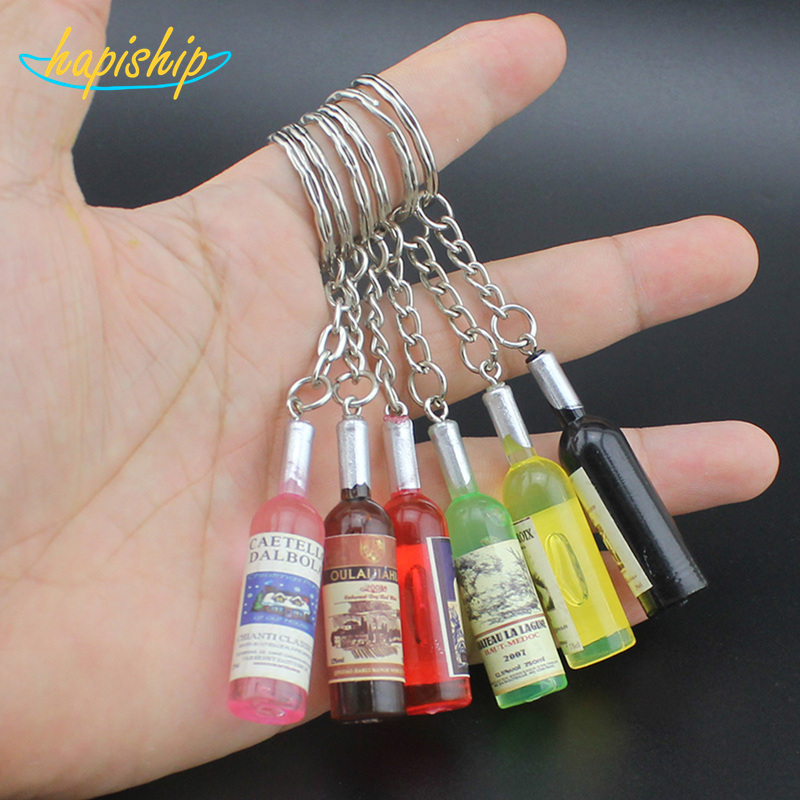 Hapiship 2017 New Women/Men's Fashion Handmade Resin Wine Bottle Key Chains Key Rings Alloy Charms Gifts YSCN33 Wholesale