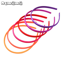 5 Pcs/lot Solid Hairbands for Girls Satin Covered 10 mm Width Candy Color Hair Hoop Kids Accessories
