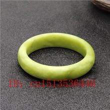 Натуральный зеленый китайский нефритовый браслет ювелирные изделия Модные аксессуары женский счастливый амулет 54-64 мм