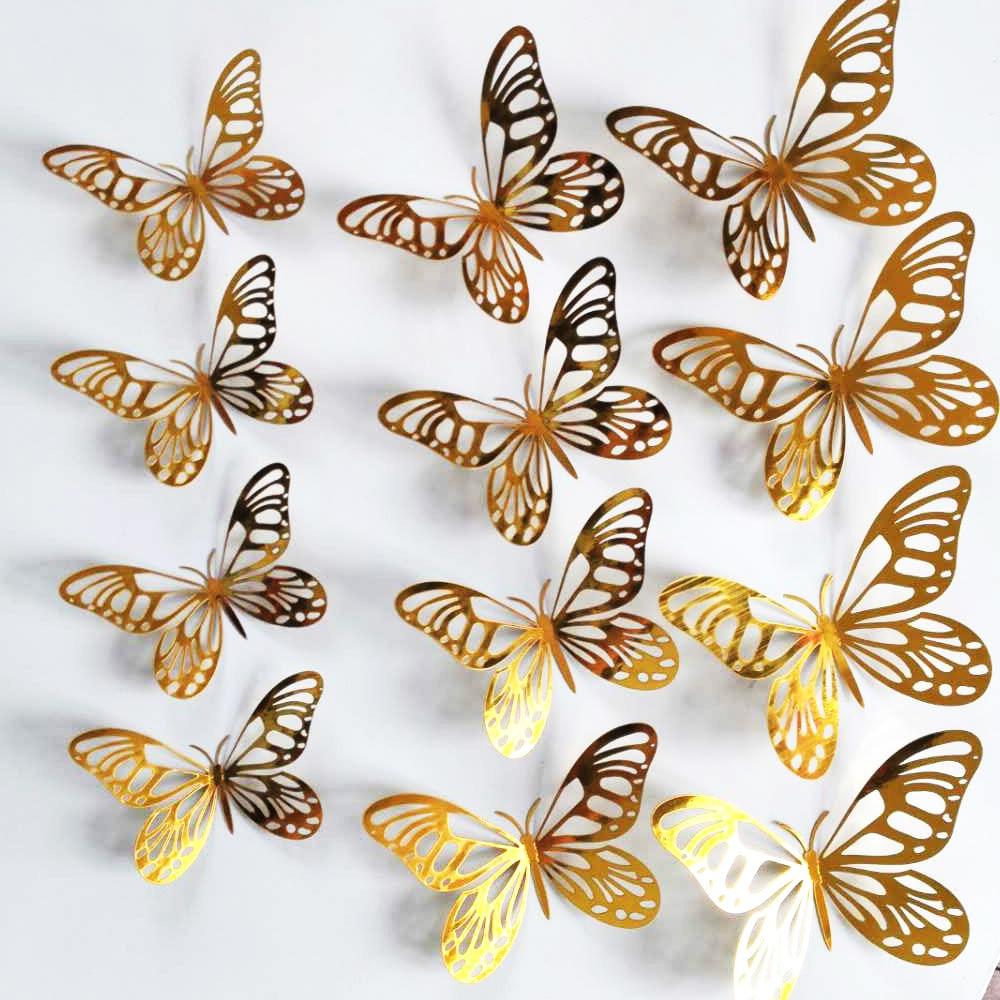 12pcs/set Gold Silver Hollow Butterfly Wall Sticker 3D Butterflies Bedroom Living Room Home Decoration Stickers Wedding Decor