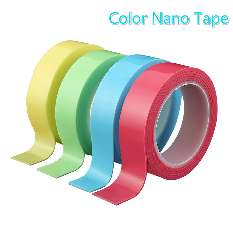 Colorful Nano Tape Magic Adhesive Waterproof Washable Reusable Traceless Double-Sided Removable Stick Office & School Supplies
