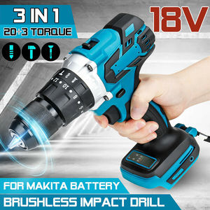 For Makita 18V Battery 3 in 1 Brushless Electric Hammer Drill Electric Screwdriver 13mm 20+3 Torque Cordless Impact Drill