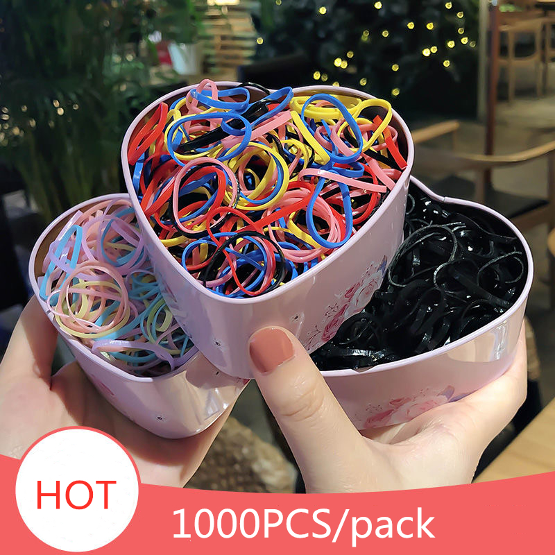 1000PCS/Pack Cute Girls Colourful Ring Disposable Elastic Hair Bands Hair Accessories Ponytail Holder Rubber Band Scrunchies