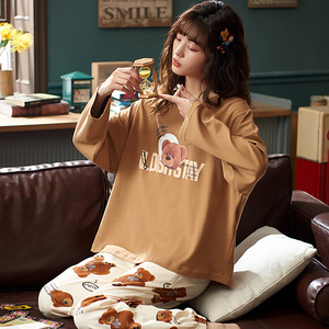 Image 2 - M L XL XXL 3XL 4XL 5XL uzun kollu kadın kıyafeti pijama 100% pamuklu gecelik setleri sonbahar pijama kadın pijama