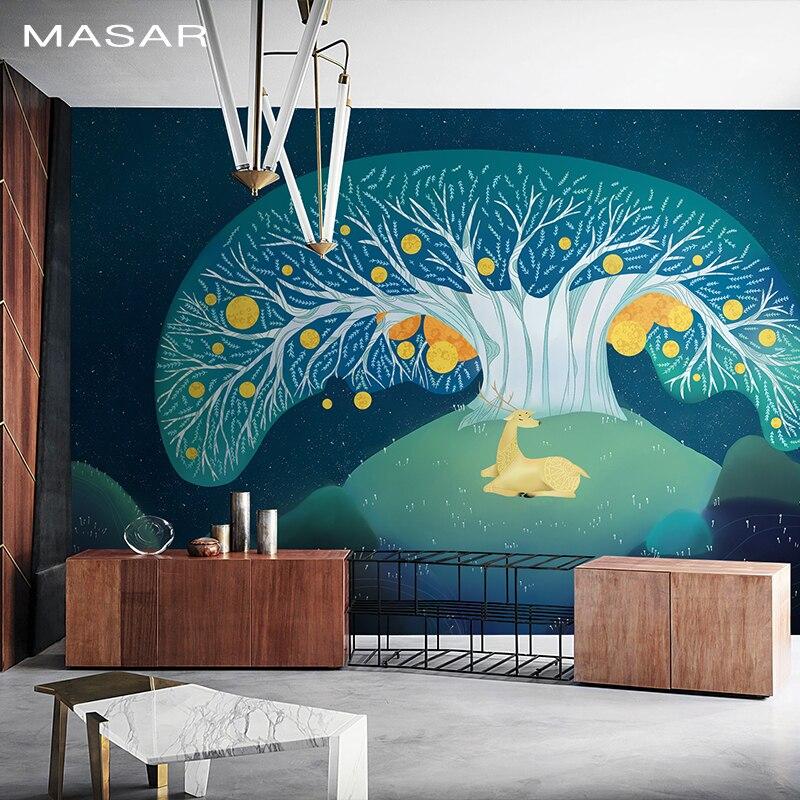 MASAR magique abstrait dessin animé arbre et cerf mural chambre d'enfants fond papier peint animal papier peint arbre de vie
