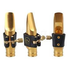 Yibuy Golde Plated Brass Alto Saxophone Mouthpiece with Ligature Cap A Type 6C