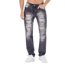 Men Fashion Denim Pleated Jeans Retro Pants Casual Vintage Motorcycle Zipper Wrinkle Multi-pocket Trousers