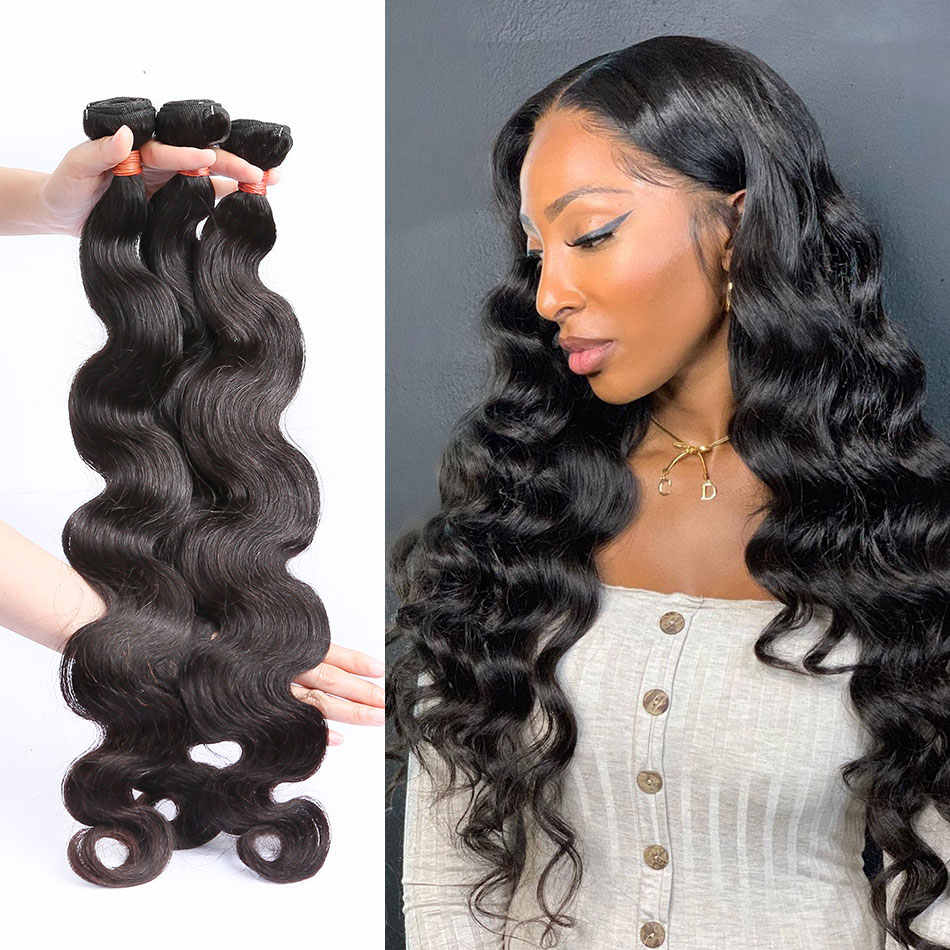 Linksbeauty 8 to 28 30 40 Inch Natural Color Brazilian Hair Weave 1 3 4 Bundles Body Wave 100% Remy Human Hair Extensions Weft