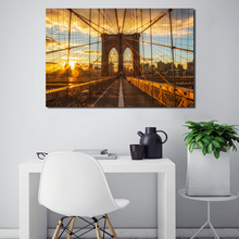 Sunset New York City Brooklyn Bridge Art Canvas Poster Painting Wall Picture Print Modern Home Bedroom Decoration Accessories the morning of city london new york vintage poster art canvas painting wall picture print modern home room decoration unframed