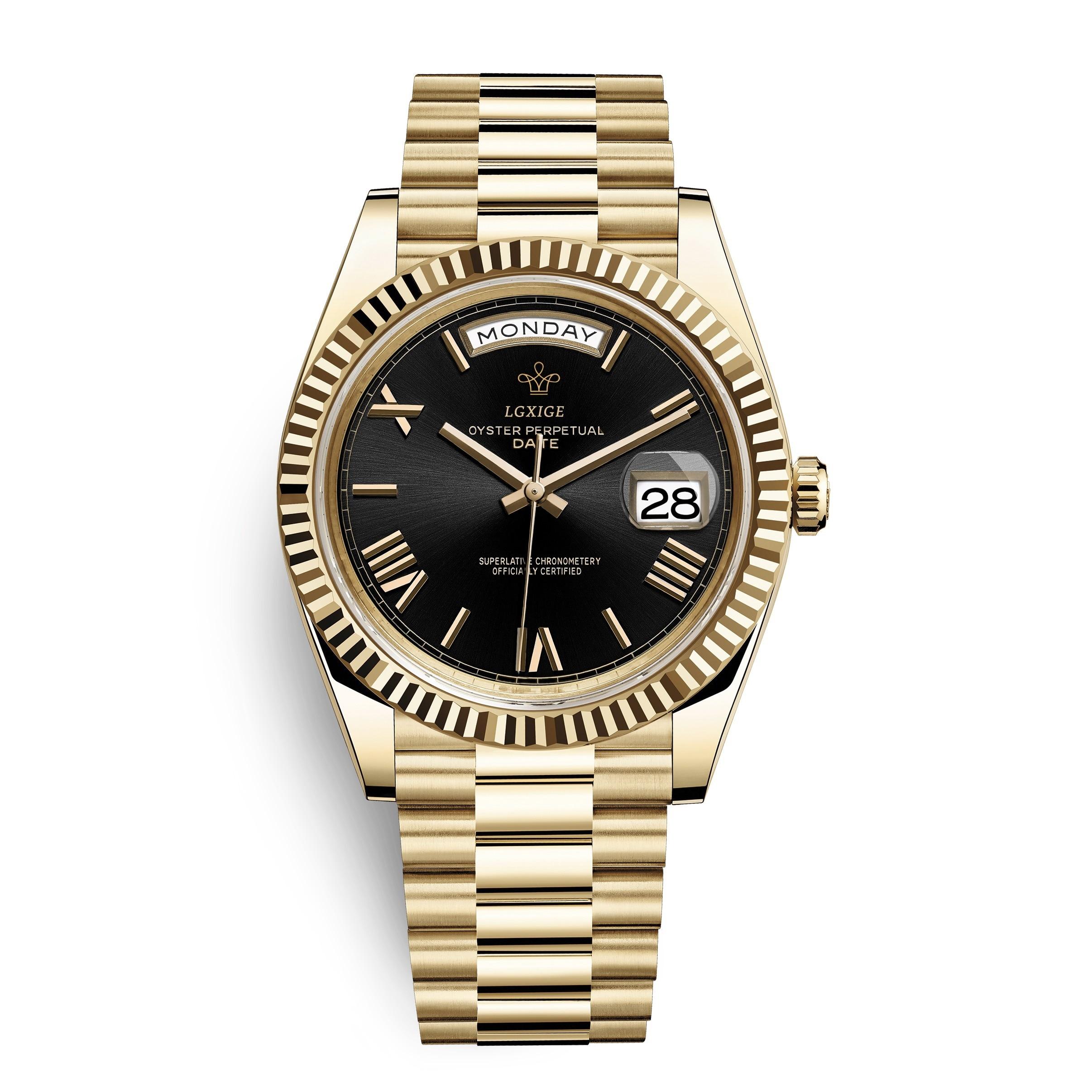 2019 Day Date New AAA Watch Men Daydate Golden Blue Men Watch Crown Automatic Roman Number President Wristwatch Mens For Clock