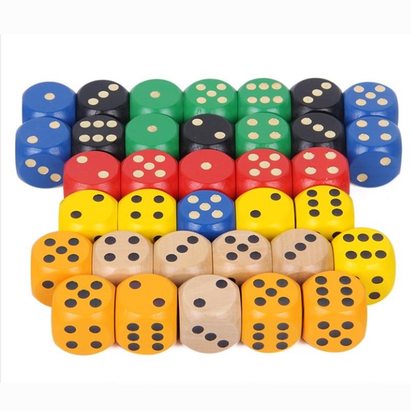 10 pçs/pçs/set 20mm ponto cubos redonda coener dice conjunto de madeira 6 lados colorido ponto dados jogo de tabuleiro acessório