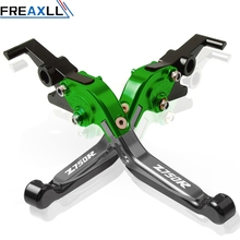Motorcycle CNC Adjustable Foldable Brake Clutch Lever Handle Grips For Kawasaki Z750R  Z 750R 2011 2012 With z750r LOGO