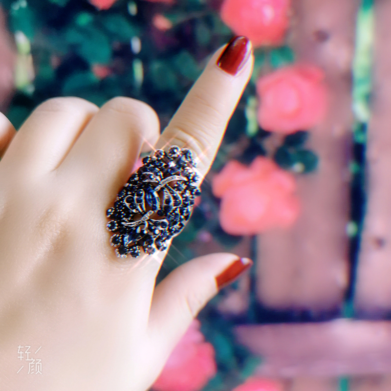 LEEKER Women Vintage Hollow Dragonfly Rings With Shiny Red Cubic Zirconia Female Sexy Ring Black Color Animal Jewelry 565 LK10 3