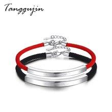 Tanggujin Rope Bracelet With 925 Sterling Silver Couple Bracelets For Lover Women Men Red Handmade Charm Thread Jewelry