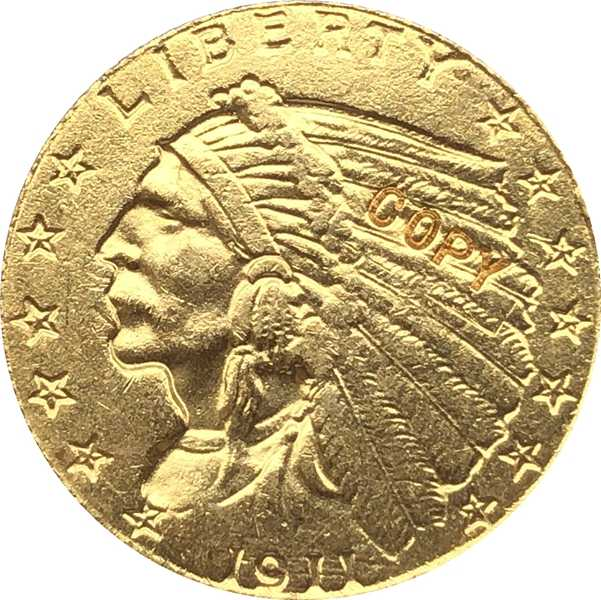 24-K gold überzogene 1911-D $2,5 GOLD Indischer Half Eagle Münze Kopie