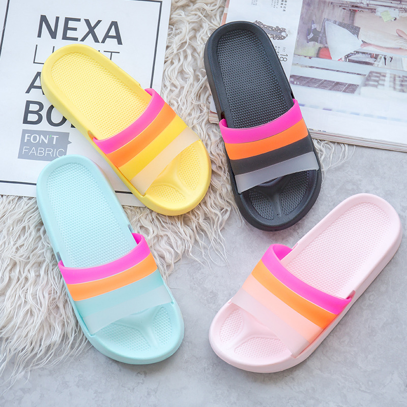 KINE PANDA Summer Rainbow Slippers For Girls Non slip Soft Beach Ladies Slides Flats Shoes Home Women Slipper Outdoor Footwear in Slippers from Shoes