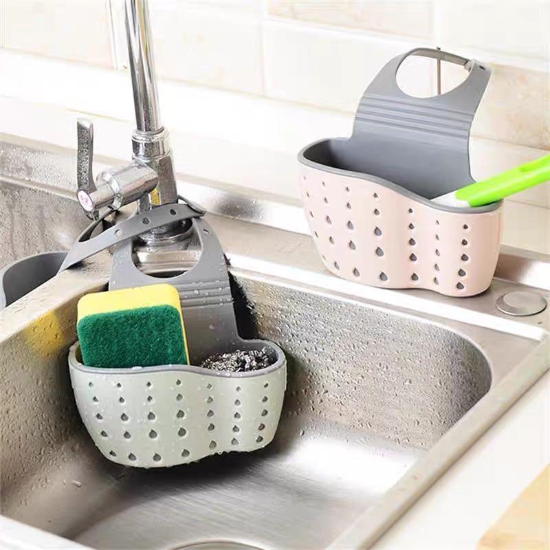 Kitchen Suction Cup Sink Shelf Soap Sponge Drain Rack Sucker Storage Accessories
