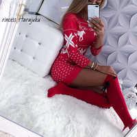 Vestido de Navidad de manga larga con estampado de ciervo para mujer, vestido Sexy ajustado para Vestidos de punto de Navidad, Otoño/Invierno, 2020