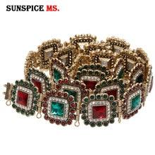 SUNSPICE MS 모로코 Caftan 벨트 금속 허리 체인 컬러 크리스탈 웨딩 쥬얼리 조절 가능한 크기 두바이 전통 바디 Jewellry