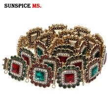 SUNSPICE MSモロッコカフタンベルト金属ウエストチェーンカラークリスタルウェディングジュエリー調節可能なサイズドバイ伝統的なボディ宝飾