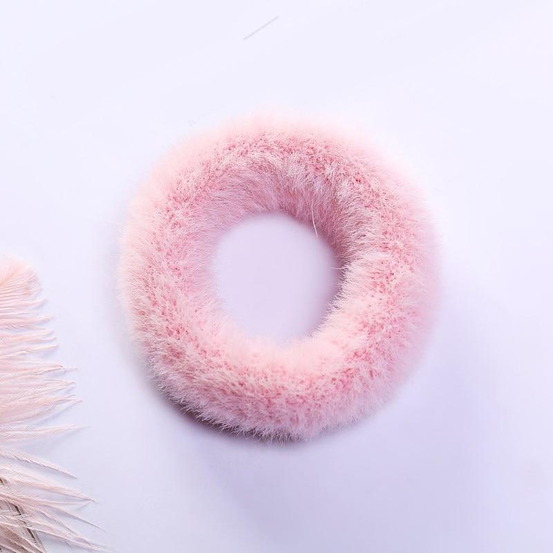 1 мягкий пушистый искусственный мех, пушистый благородный, новинка, шикарные резинки для волос, эластичное кольцо для волос, аксессуары, эластичные розовые резинки для волос - Цвет: 43