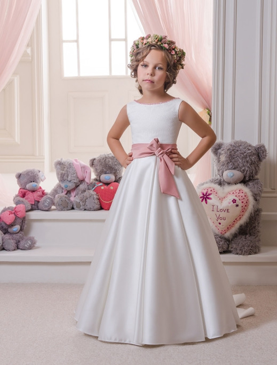 Hot 2019   Flower     Girl     Dresses   For Weddings A-line Satin Bow Long First Communion   Dresses   Little   Girl