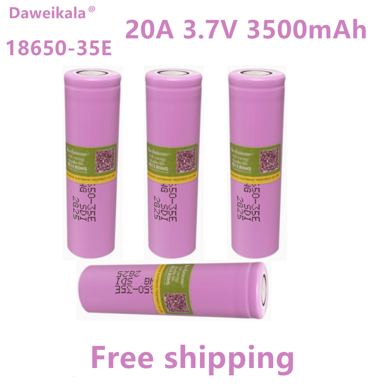 2021New сделано в Korea18650 3500 мА/ч, 20A разрядки INR18650-35E 3,7 v 18650 Батарея 3,7 V аккумуляторная Батарея + бесплатная доставка