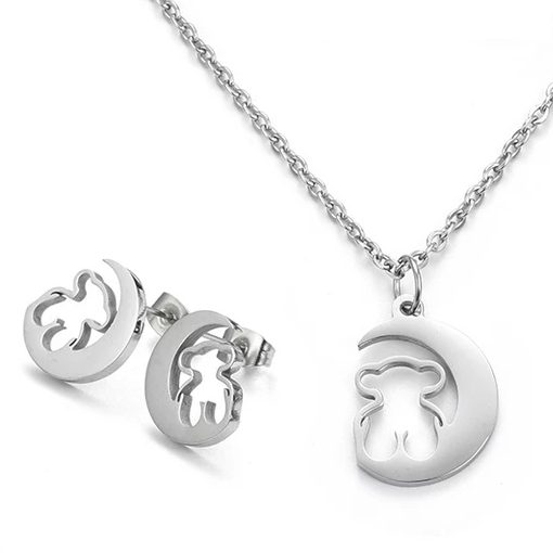 Gold Stainless Steel Bear Pendant Necklace Earrings Sets Heart Clover Cross Bear Charm Necklace Jewelry Sets for Women