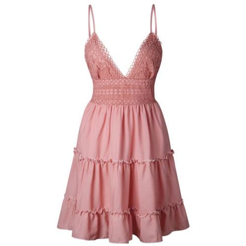 Boho Summer Dress Women Sexy Strappy Lace White Mini Dresses Female Ladies Beach V Neck Party Sundress Black Yellow Pink 5