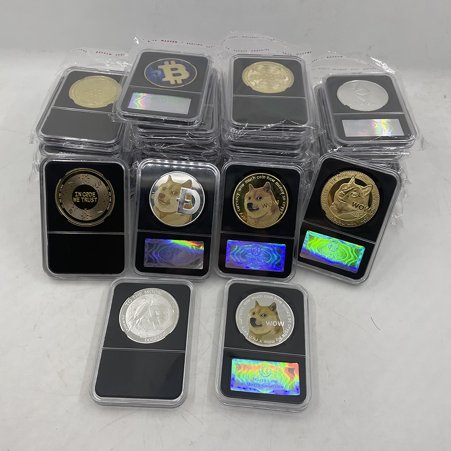 36 Тип дожкойн/Bitcoin ETH/Litecoin/приборной панели/пульсация/монеро/EOS Металл физическое серебро/золото Ada Cardano монета с черной акриловый чехол